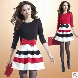 Wholesale New Fashion Women Clothing Cute Casual Bowknot Sexy Dress Elegant Long Sleeve Slim Lady Striped Ball Gown