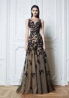 Model Pictures Crew Tulle 2014 Sexy zuhair murad Crew Neck Prom Dresses Lace Black Tulle Nude color Chiffon Floor-Length Evening Dresses Celebrity Dresses