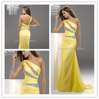 Wholesale yellow beaded long bridesmaid prom Formal Evening dresses Cocktail Party dress Ball Gown dress AB0028