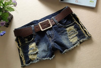 Shorts Women Mini Fashion Korean Women Hole Denim Jeans Shorts Lady Vintage Ripped Lace jean shorts high quality
