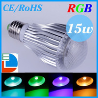 Wholesale 15W E27 RGB LED Light Lamp Bulb Spotlight AC85 V CE RoHS Years Warranty Colors for Home Party