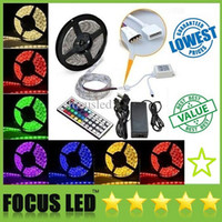 Wholesale 5050 Waterproof RGB Led Strips Led M M Leds Colorful Changing IR Controller V A Power Adapter With EU AU UK US Plug