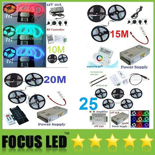 10M 15M 20M 25M RGB SMD 5050 étanches Led Strips Light + Télécommande + Alimenta