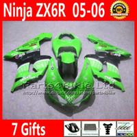 Comression Mold For Kawasaki Ninja ZX-6R 7 Free Gifts ABS fairing body kits for 05 06 ZX6R Kawasaki Ninja green black 636 ZX 6R fairings motobike parts ZX-6R ZX636 2005 2006 VR54