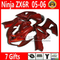 Comression Mold For Kawasaki Ninja ZX-6R 7 Free Gifts ABS fairing body kits for 05 06 ZX6R Kawasaki Ninja 636 ZX 6R fairings pure red motobike parts ZX-6R ZX636 2005 2006 VR66