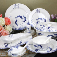 Wholesale Jingdezhen ceramic glaze blue and white porcelain dinnerware set bone china bowl set microwave oven tableware