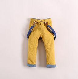 Wholesale Spring Children s Suspender Trouser Baby Boy s Trousers Khaki Yellow Red Colors Kids Boys Pants Liesure Children s Clothing C1142