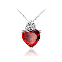 sterling silver - Heart clavicle chain necklace sterling silver pendants jewelry red garnet sterling silver necklace sincere heart Red gem stone necklace