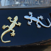 15g   200Pcs 3D Metal Wall Gecko Car Badge Sticker Auto Decorating Emblem Label Logo Universal Style Silver Gold