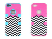 Wholesale Chevron Waves Pattern Hard Plastic Snap PC Silicone Back Case Cover for iphone s G c s