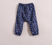 Wholesale 2014 Harem Girls Trousers Cute Pure Cotton Floral Loose rubber Casual Pants Girl Children s Clothing Buttom Flowers Trouser Color C1143