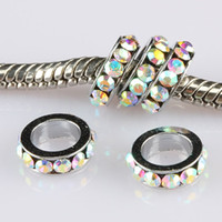 Wholesale 100pcs Charm Antique Silver tone AB Crystal Rhinestone Large Hole Spacer Rondelle Bead European Bracelet Beads Jewelry Findings