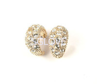 Wholesale SGLOVE LUXURY K Rose Gold Plated Dazzling Lab Created Diamond U Shape Studs Earrings For Women pag support mixed batch