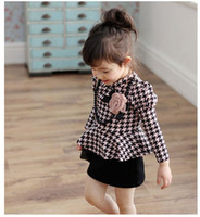 TuTu Spring / Autumn A-Line 2014 Spring Retro Style Children Girls Grid Pattern Black Pearl Florals Crosage Long Sleeve One Piece Peplum Dresses Kids Party Dress B2925