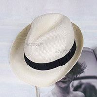 Wholesale Fashion Style Mens Womens Fedora Panama Tribly Summer Sun Straw Fedora Crushable Cap Hat wx49
