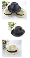 Stingy Brim Hat 4 colors Cowboy 2014 New Fashion Hot-selling girl's Mens Summer Sun Straw Fedora Crushable Womens Fedora Panama Tribly Cap Hat (wx49) Free Shipping