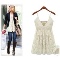 Cheap Casual Dresses Lace Dress Best V_Neck Mini Sling Vest Loose Dresses