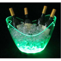 Wholesale plastic champagne led ice bucket color changing lighted LED ice Tub luminous ice cooler glow Beer cask Cubo de hielo del LED