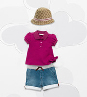 Baby girl sets fashion Brand suits hat+ T- shirt+ shorts childr...