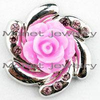 achat en gros de cuir rose bracelet fleur-A20278 rose rose nouvellement mode belle fleur boutons claque noosa morceaux pour noosa cuir DIY bracelets noosa bijoux