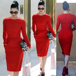 Wholesale New style Womens Pinup Rockabilly O neck Pockets Bodycon Stretch Shift Wiggle Formal Pencil Party Dresses