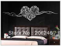 PVC art deco decals - 150 CM Heart Vine Wall Bed Decor Vinyl Stickers Decal Removable Art Mural Home Deco DIY Many Colours