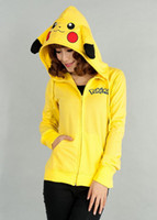 Wholesale New Fashion Pokemon Face Tail Zip Hoodie Hoody Sweatshirt Pikachu Costume