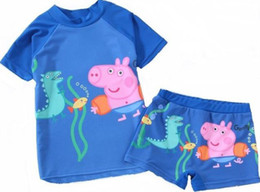 Wholesale Peppa pig George Pig boy boys SUV sun protection anti uv swimwear bather t shirt short sets