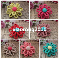 Wholesale NEW Dia cm quot Seven Colors Children Hair Accessories Manual Beautiful Buttons Cloth Flower for DIY Shoes Bags Decorative Flowers