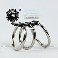 Steel Penis Rings  Wholesale - - Stainless steel Cocking Penis Three Ring metal Sex Toy Product Supply testicles ring sex