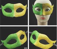 Wholesale 12PCS World Cup Brazil Face Mask Gold flag half face coloured drawing or pattern carnival mask