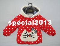 Coat Unisex Winter Kids Girl Red Polka Dot Cat Coat Baby Girl Cotton padded Winter Warm Jacket Outerwear Children Clothing Tops