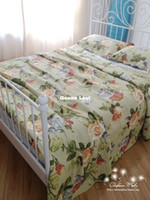 100% Cotton Disposable Comforter Set American country quilting bedding bed cover vintage bedspread air conditioning summer comforter queen size floral rural 3pcs
