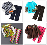 Girl Spring / Autumn Long Jumping Beans Boy's Tracksuits Stripe Baby suits Tees Shirt Pants sets Girls Pajamas suit Floral Polka Dot Cheapest