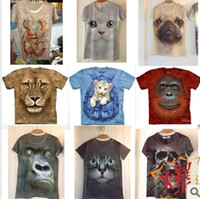 Wholesale Summer men s clothing personalized three dimensional animal pattern print dt male short sleeve T shirt d clothes