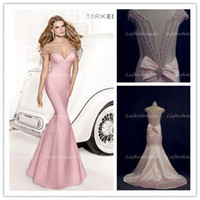 Wholesale Tarik Ediz New Sexy Baby Pink Sweetheart Sheer Back Mermaid Formal Evening Dress Gowns with Delicate Beads Celebrity Prom Dresses