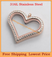 Wholesale New mm IP ROSE GOLD L stainless steel magnetic crystal floating heart locket pendant charm glass lockets jewelry
