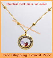 Chains   Fashion width 4mm 18'' Stainless steel IP 18k Gold link chain for floating charm glass living locket,no locket pendant C61