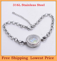 Link, Chain Unisex  New style fashion DIY 20mm silver Crystal round 316L stainless steel floating charm memory living glass locket bracelets B18