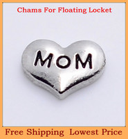 Charms   Hot sale zinc alloy silver heart black mom letter origami owl floating charms for living memory photo locket with glass FC71