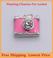 Charms   Free shipping top sale silver crystal pink camera origami owl floating charms for living photo memory glass lockets FC241