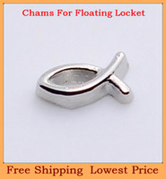 Wholesale Hot sale zinc alloy high polished silver fish origami owl floating charms for magnetic living photo memory glass lockets FC73