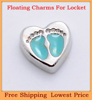 Charms   Free shipping Fashion green baby footprint in heart origami owl floating charms for living glass memory glass lockets FC114