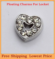 Wholesale top selling silver crystal smile heart origami owl floating charms for living glass memory glass lockets FC212
