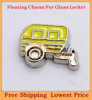 Charms   Free shipping new design enamel yellow Carriage origami owl floating charms for living photo memory glass lockets FC247