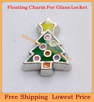 Wholesale cheap green christmas tree silver metal origami owl floating charms for living photo memory glass lockets FC249