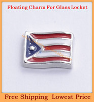 Charms   Free shipping 2014 new cute Puerto Rico's Flag origami owl floating charms for living magnetic memory glass lockets FC297
