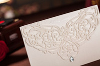 Wholesale 2014 Elegent White Rhinestone Hollow Graceful Wedding Invitation Cards Personalized Set Of