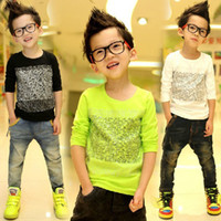 Boy Spring / Autumn Standard Free shipping boys clothes new 2013 autumn-summer Children Boys T-Shirts Long Sleeved t shirs for Boys kids A261
