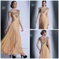 Wholesale 2014 New Cap sleeve Backless Crew Sheath Ankle length Chiffon Embroidery Pageant Dresses Formal Evening Gowns